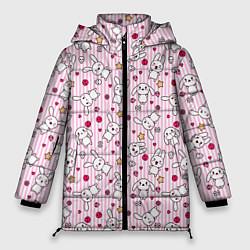 Женская зимняя 3D-куртка с капюшоном с принтом Зайчики, цвет: 3D-черный, артикул: 10213994306071 — фото 1