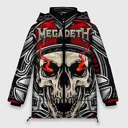Женская зимняя 3D-куртка с капюшоном с принтом Megadeth, цвет: 3D-черный, артикул: 10218172506071 — фото 1