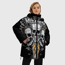 Женская зимняя 3D-куртка с капюшоном с принтом Megadeth, цвет: 3D-черный, артикул: 10218180506071 — фото 2