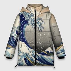 Женская зимняя 3D-куртка с капюшоном с принтом ЯПОНСКАЯ КАРТИНА, цвет: 3D-черный, артикул: 10246798706071 — фото 1