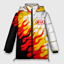 Женская зимняя 3D-куртка с капюшоном с принтом KIA, цвет: 3D-черный, артикул: 10253982106071 — фото 1