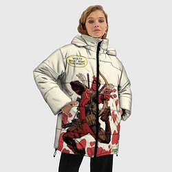 Женская зимняя 3D-куртка с капюшоном с принтом Deadpool, цвет: 3D-черный, артикул: 10275015906071 — фото 2