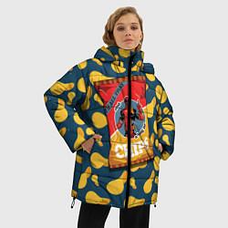 Женская зимняя 3D-куртка с капюшоном с принтом Deadpool чипсы, цвет: 3D-черный, артикул: 10275016306071 — фото 2