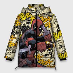 Женская зимняя 3D-куртка с капюшоном с принтом Deadpool, цвет: 3D-черный, артикул: 10275016706071 — фото 1