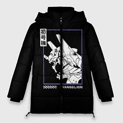 Женская зимняя 3D-куртка с капюшоном с принтом Юнит-01, цвет: 3D-черный, артикул: 10275471706071 — фото 1