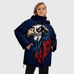 Женская зимняя 3D-куртка с капюшоном с принтом Зоркий глаз, цвет: 3D-черный, артикул: 10278352106071 — фото 2