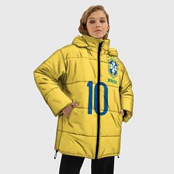 Женская зимняя 3D-куртка с капюшоном с принтом СБОРНАЯ БРАЗИЛИИ ПЕЛЕ, цвет: 3D-черный, артикул: 10279774906071 — фото 2