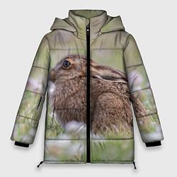 Женская зимняя 3D-куртка с капюшоном с принтом Зайчонок, цвет: 3D-черный, артикул: 10280042306071 — фото 1