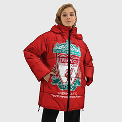 Женская зимняя 3D-куртка с капюшоном с принтом Liverpool, цвет: 3D-черный, артикул: 10063903406071 — фото 2