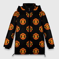 Женская зимняя 3D-куртка с капюшоном с принтом Manchester United Pattern, цвет: 3D-черный, артикул: 10063904306071 — фото 1