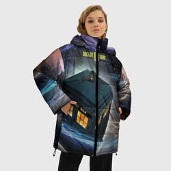 Женская зимняя 3D-куртка с капюшоном с принтом Police Box, цвет: 3D-черный, артикул: 10065034706071 — фото 2