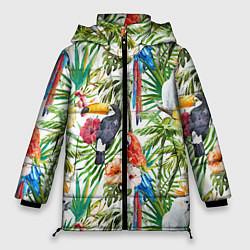 Женская зимняя 3D-куртка с капюшоном с принтом Попугаи в тропиках, цвет: 3D-черный, артикул: 10065274406071 — фото 1
