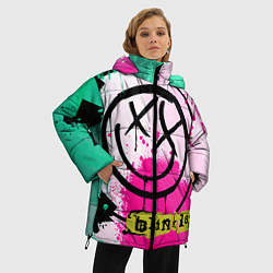 Куртка зимняя женская Blink-182: Purple Smile цвета 3D-черный — фото 2