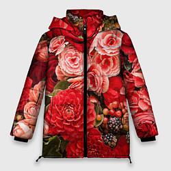 Женская зимняя 3D-куртка с капюшоном с принтом Ассорти из цветов, цвет: 3D-черный, артикул: 10067033606071 — фото 1