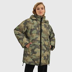 Куртка зимняя женская Камуфляж: хаки цвета 3D-черный — фото 2