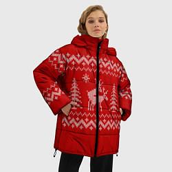 Куртка зимняя женская Олени под елками цвета 3D-черный — фото 2