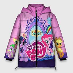 Женская зимняя 3D-куртка с капюшоном с принтом My Little Pony, цвет: 3D-черный, артикул: 10075444706071 — фото 1