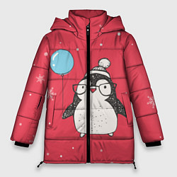 Женская зимняя 3D-куртка с капюшоном с принтом Влюбленная пингвинка, цвет: 3D-черный, артикул: 10079040806071 — фото 1