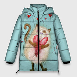 Куртка зимняя женская Котик цвета 3D-черный — фото 1