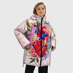 Женская зимняя 3D-куртка с капюшоном с принтом Цветочное сердце, цвет: 3D-черный, артикул: 10079271506071 — фото 2
