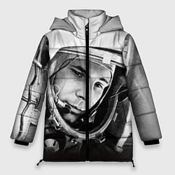 Женская зимняя 3D-куртка с капюшоном с принтом Юрий Гагарин, цвет: 3D-черный, артикул: 10082403206071 — фото 1