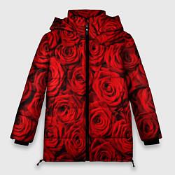 Женская зимняя 3D-куртка с капюшоном с принтом Красные розы, цвет: 3D-черный, артикул: 10085386706071 — фото 1