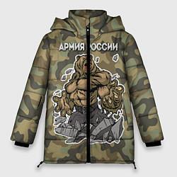 Куртка зимняя женская Армия России: ярость медведя цвета 3D-черный — фото 1