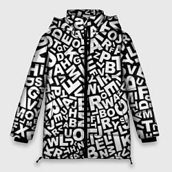 Женская зимняя 3D-куртка с капюшоном с принтом Английский алфавит, цвет: 3D-черный, артикул: 10092150206071 — фото 1