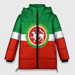 Женская зимняя 3D-куртка с капюшоном с принтом Татарстан: флаг, цвет: 3D-черный, артикул: 10094275106071 — фото 1