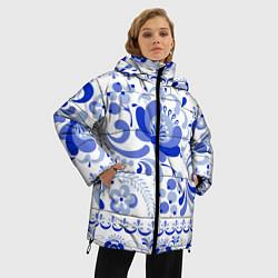 Куртка зимняя женская Гжель 2 цвета 3D-черный — фото 2