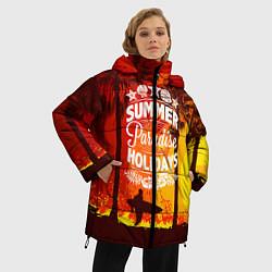 Женская зимняя 3D-куртка с капюшоном с принтом Summer Surf 2, цвет: 3D-черный, артикул: 10096433006071 — фото 2