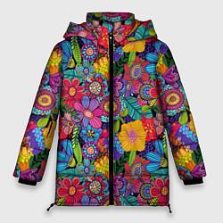 Женская зимняя 3D-куртка с капюшоном с принтом Яркие цветы, цвет: 3D-черный, артикул: 10096493906071 — фото 1