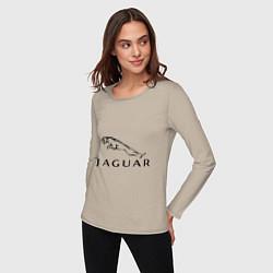 Лонгслив хлопковый женский Jaguar цвета миндальный — фото 2