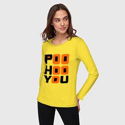Лонгслив хлопковый женский Poo hoo you цвета желтый — фото 2