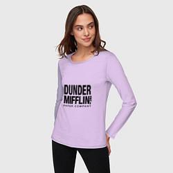 Лонгслив хлопковый женский Dunder Mifflin цвета лаванда — фото 2