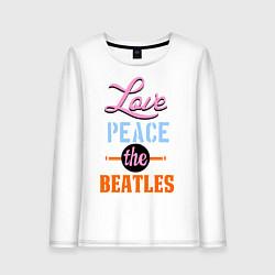 Женский лонгслив Love peace the Beatles