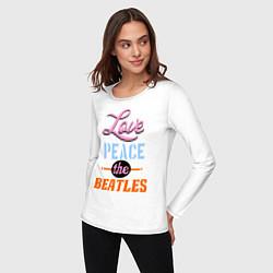 Лонгслив хлопковый женский Love peace the Beatles цвета белый — фото 2