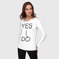 Лонгслив хлопковый женский Yes I Do цвета белый — фото 2