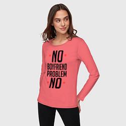 Лонгслив хлопковый женский No Boyfriend цвета коралловый — фото 2
