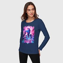 Лонгслив хлопковый женский Muse цвета тёмно-синий — фото 2
