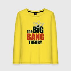 Женский хлопковый лонгслив с принтом Big Bang Theory logo, цвет: желтый, артикул: 10217864500016 — фото 1