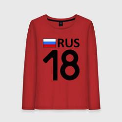 Лонгслив хлопковый женский RUS 18 цвета красный — фото 1