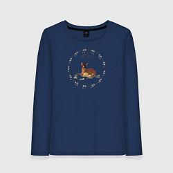 Лонгслив хлопковый женский Bambi цвета тёмно-синий — фото 1