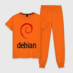 Пижама хлопковая женская Debian цвета оранжевый — фото 1