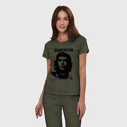 Пижама хлопковая женская Che Guevara цвета меланж-хаки — фото 2
