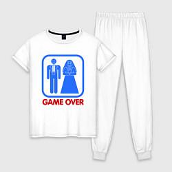 Пижама хлопковая женская Game over цвета белый — фото 1