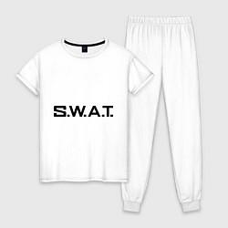 Пижама хлопковая женская S.W.A.T цвета белый — фото 1