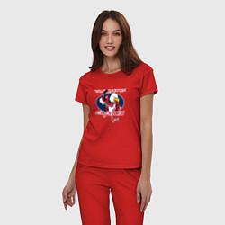 Пижама хлопковая женская Washington Capitals Hockey цвета красный — фото 2