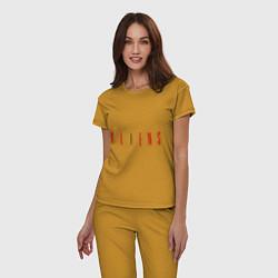 Пижама хлопковая женская ALIENS цвета горчичный — фото 2