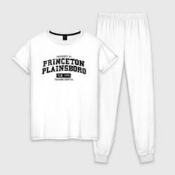 Пижама хлопковая женская Princeton Plainsboro цвета белый — фото 1